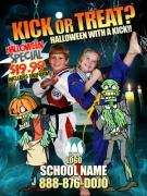 Halloween Karate Ad Cards Martial Arts Kick or Treat